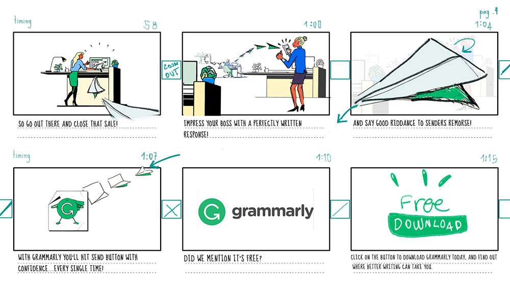 Storyboard, Grammarly, Panel