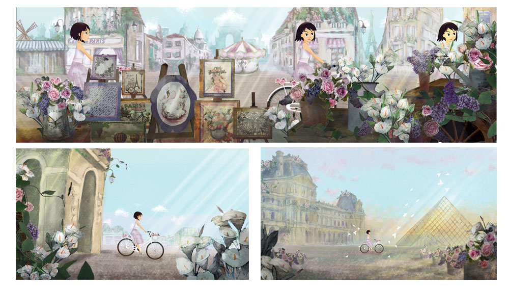 "cartoons background - Episode ""Paris"" Brand: Monnalisa"