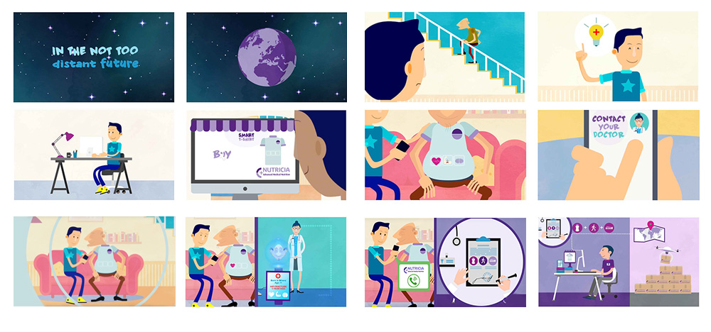 storyboard for flat animation - Nutricia Danone -